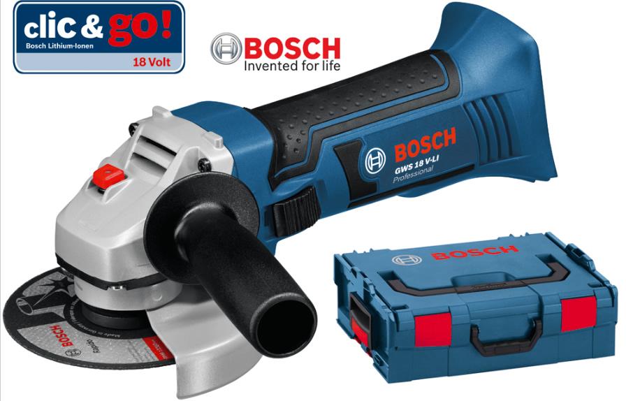 Γωνιακός Τροχός Μπαταρίας Bosch GWS 18 V-LI Solo Professional και L-Boxx 060193A304