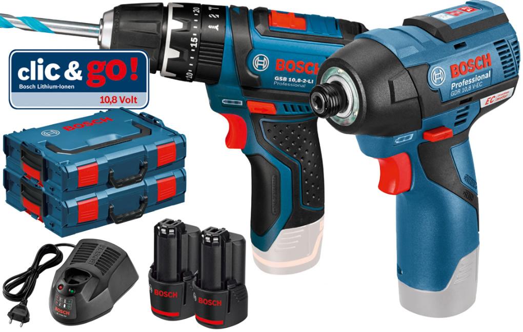Σετ Bosch Κρουστικό Δραπανοκατσάβιδο Μπαταρίας GSB 10,8-2-LI Professional και Παλμικό Κατσαβίδι Μπαταρίας GDR 10,8 V-EC Professional (06BLUEGR03)