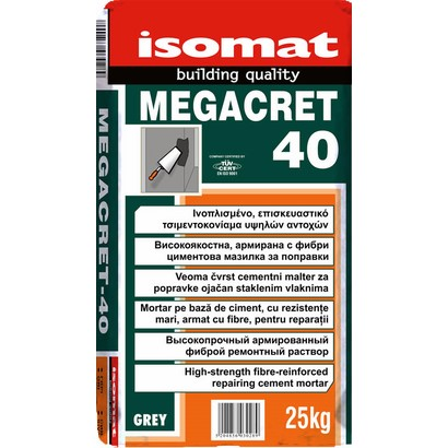 Isomat MEGACRET-40 Ινοπλισμένο, επισκευαστικό τσιμεντοκονίαμα υψηλών αντοχών